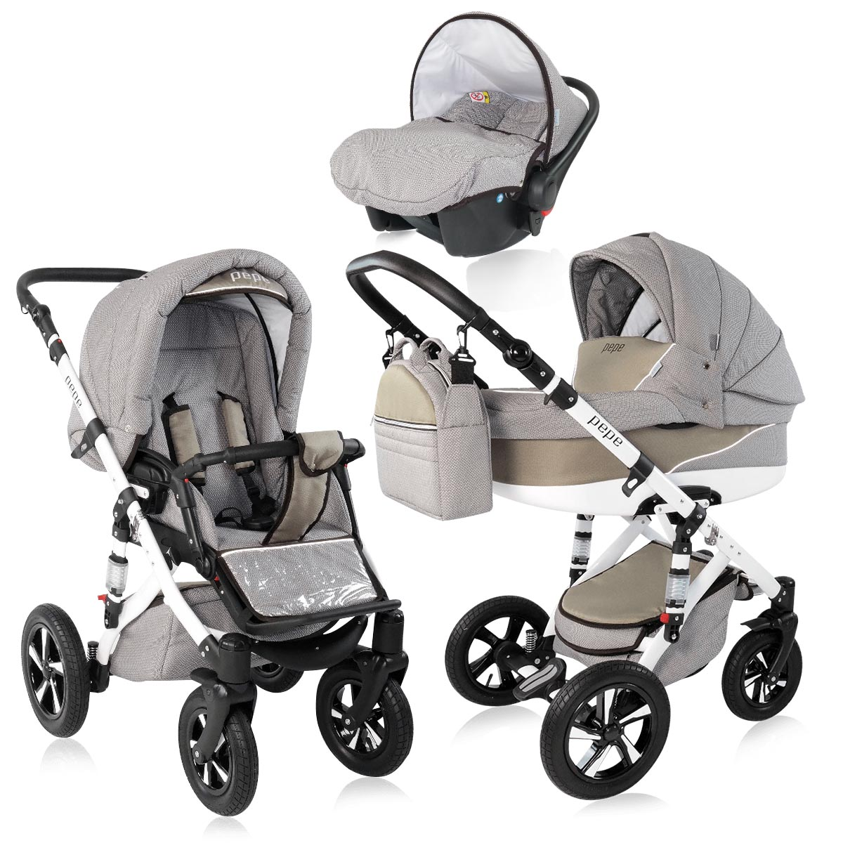 pepe kombi kinderwagen 3 in 1 babyschale autositz buggy. Black Bedroom Furniture Sets. Home Design Ideas