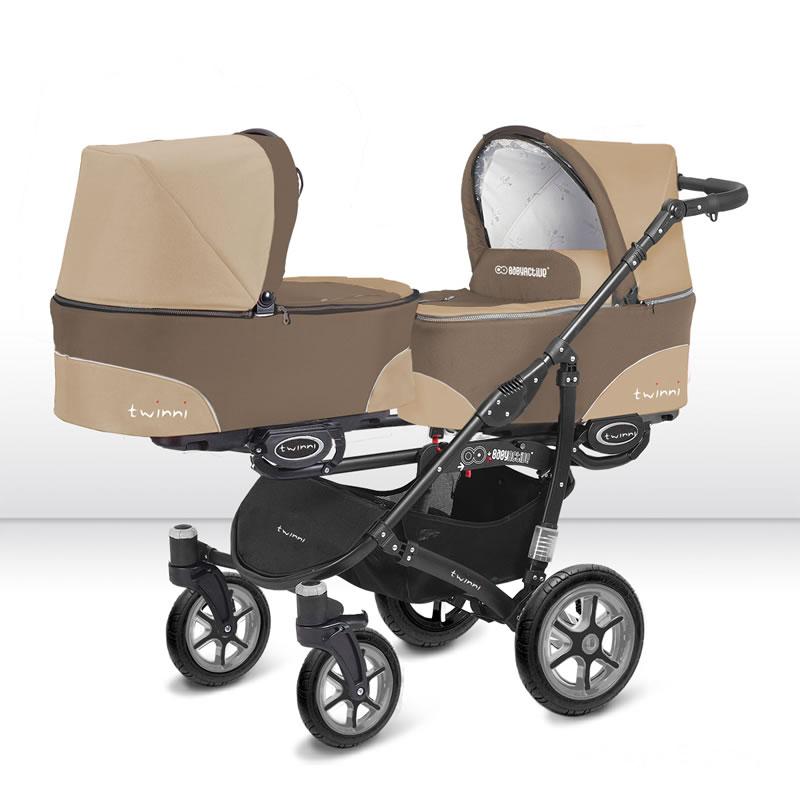 Twinni Zwillingskinderwagen Geschwisterwagen Black Edition 01 + Babyschalen 3-in-1 Komplettset