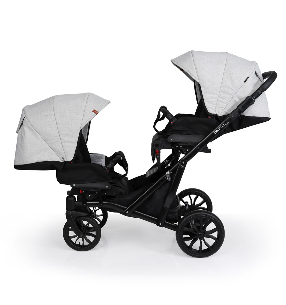 Kunert Booster Zwillingskinderwagen / Geschwisterwagen 3 in 1 mit Babyschale / Booster04