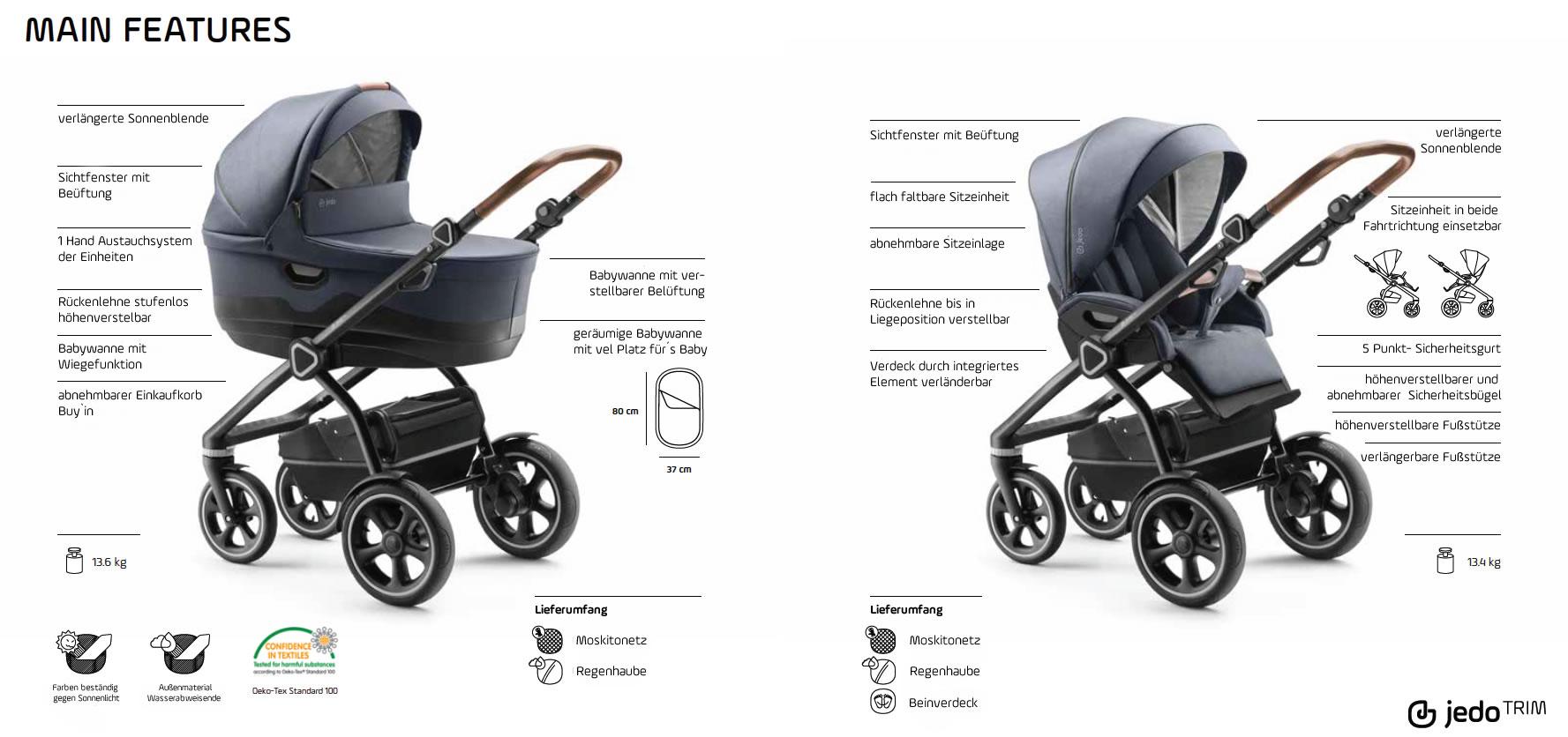 Jedo Trim M-line Kombi-Kinderwagen 2 in 1 ohne Babyschale / M2