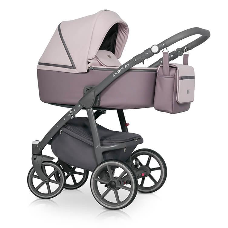 Riko Marla Kombi-Kinderwagen 3 in 1 mit Babyschale / Ditry Pink