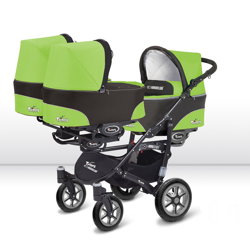Trippy Drillingskinderwagen Black Edition + Babyschalen 3-in-1 Komplettset