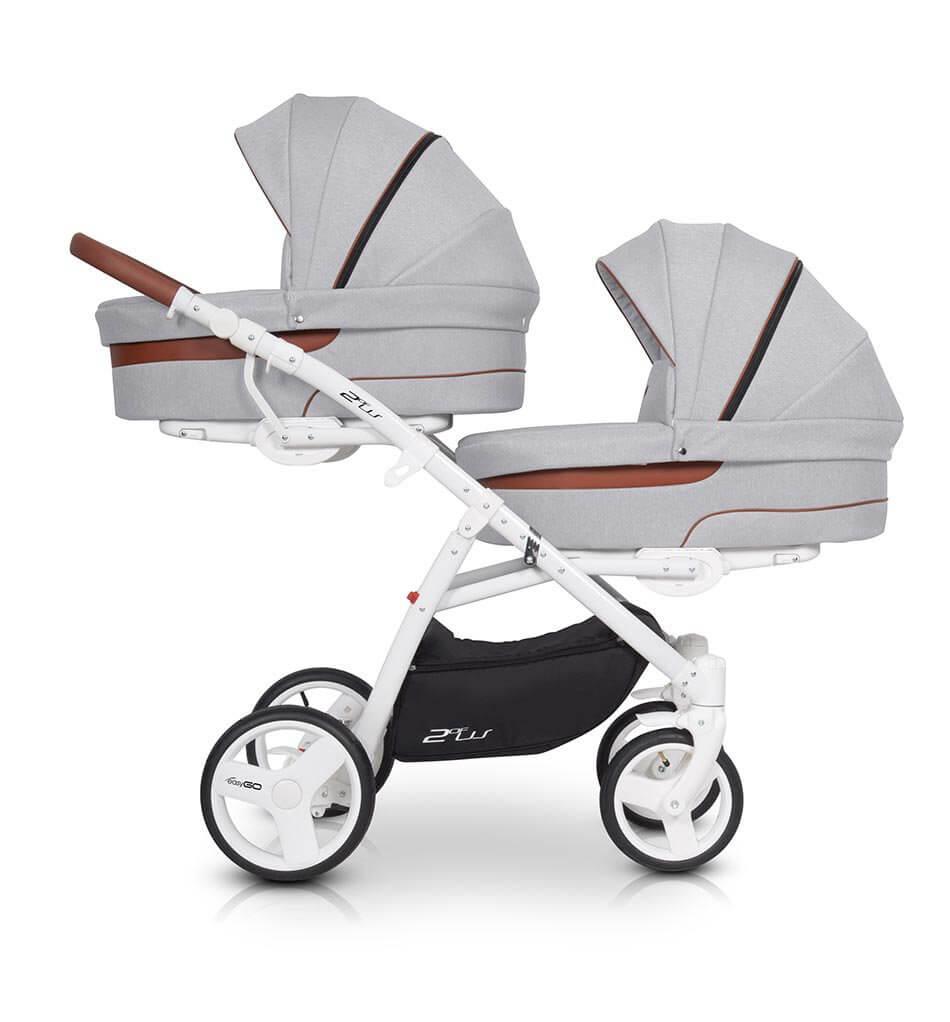 Easygo 2ofus Zwillingskinderwagen / Geschwisterwagen 2 in 1 ohne Babyschale / Grey Fox