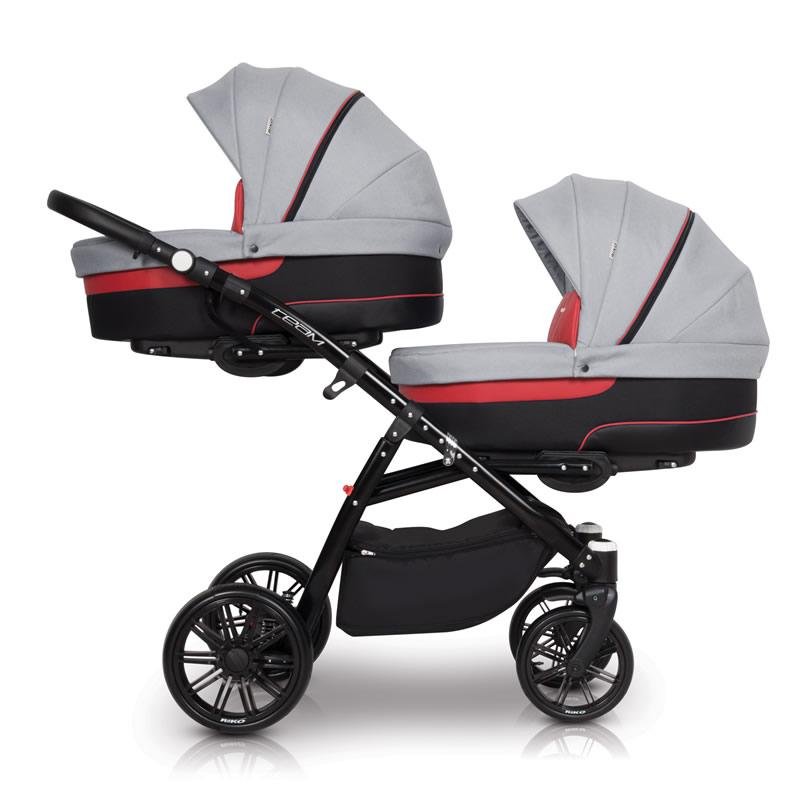 Riko Team Zwillingskinderwagen / Geschwisterwagen 2 in 1 ohne Babyschale / Scarlet
