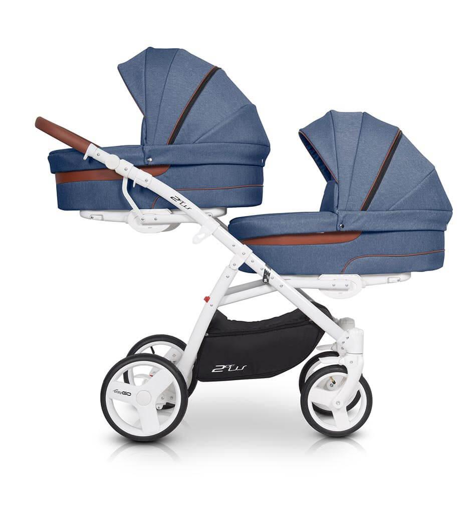 Easygo 2ofus Zwillingskinderwagen / Geschwisterwagen 2 in 1 ohne Babyschale / Denim