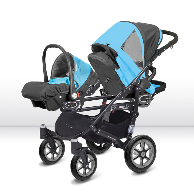 Zwillingskinderwagen mit babyschale  Twinni Zwillingskinderwagen Geschwisterwagen White Edition 01 + ...