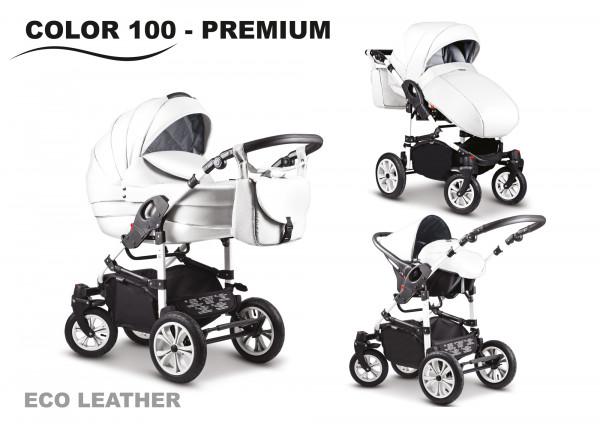 Mikado City Premium Kombi-Kinderwagen Eko Leder